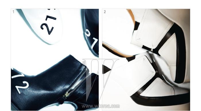 1. 숫자가 새겨진 가죽 부츠는 기옥 제품.2. 색의 대비와 조형미가 돋보이는 웨지힐은 칼 이석태 제품.