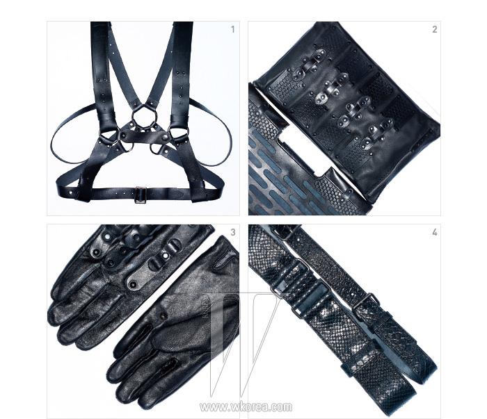1. SM적인 무드의 가죽 서스펜더, 2. 방어벽이나 견고한 철문을 연상시키는 패턴이 돋보이는 클러치, 3. 두 줄을 한 번에 착용하는 독특한 형태의 벨트,4. 잠금 고리를 장식으로 활용한 장갑은 모두 레주렉션 by 아누스에베 제품.