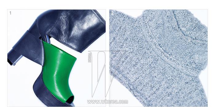 1. 배색과 커팅이 멋진 부츠, 2. 목과 어깨만 감싸는 독특한 형태의 풀오버는 모두 쟈니 헤이츠 재즈 제품.