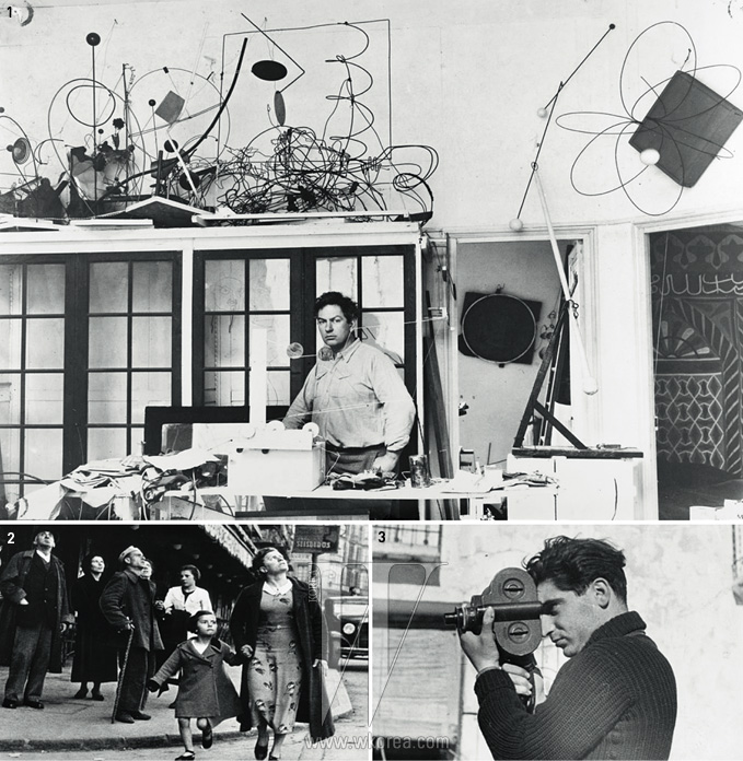 1. 1931년의 알렉산더 칼더, 파리 콜로니가 14번지에 있던 작업실에서.2. 로버트 카파의 '공습경보가 울릴 때, 피난처를 향해 달리는 엄마와 딸, 스페인 빌바오'3. 1938년 12월호 에 실린 로버트 카파의 모습
