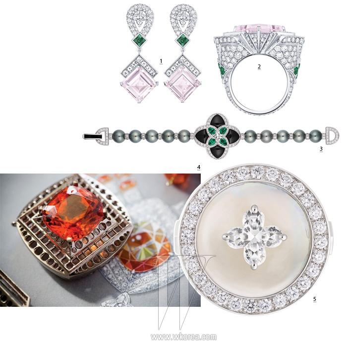 1,2. 감미로운 핑크빛의 녹주석과 LV 스타 컷 다이아몬드, 에메랄드가 조화를 이룬 루이 비통 하이 주얼리의 홀로그램 귀고리와 반지. 3. 모던한 검은색 오닉스, 에메랄드와 다이아몬드, 타히티 진주가 조화를 이룬 루이 비통 하이 주얼리의 하이노즈 팔찌. 4. 20캐럿이 넘는 오렌지빛의 만다린 석류석이 존재감을 더하는 루이 비통 하이 주얼리의 어트랙션 목걸이 스케치와 작업 중인 석류석 펜던트. 5. 임페리얼 토파즈 주위를 다이아몬드가 섬세하게 감싼 루이 비통 하이 주얼리의 탈리즈만 반지