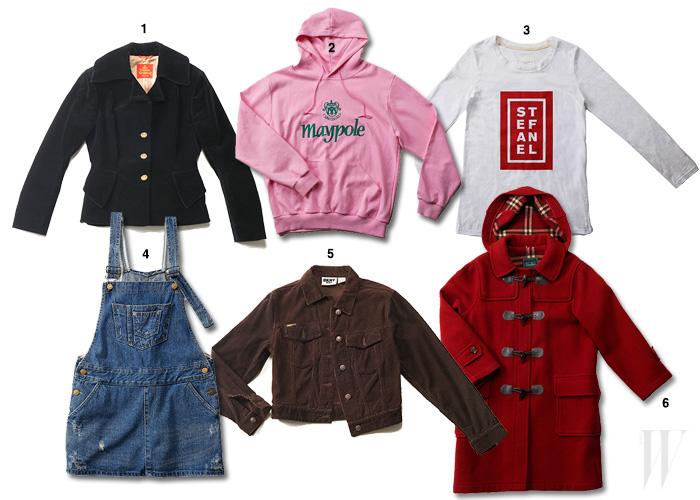 1. 90년대 인기였던 허리가 잘록하게 들어간 비비안 웨스트우드 레드 레이블의 벨벳 재킷으로 패션 홍보 대행사 브랜드폴리시 심연수 대표 소장품. 2. 에 등장한 화사한 색상의 메이폴 후드 맨투맨 티셔츠는 한송경 소장품. 3. 선명한 로고의 스테파넬 티셔츠. 4.  극 중 주인공 성나정(고아라)이 입은 데님 오버올즈. 5. DKNY 진의 코듀로이 재킷은 심연수 대표 소장품. 6. 에 등장한 고아라의 떡볶이 단추 더플 코트는 BCBG의 빈티지 아이템으로 스타일리스트 한송경 소장품.