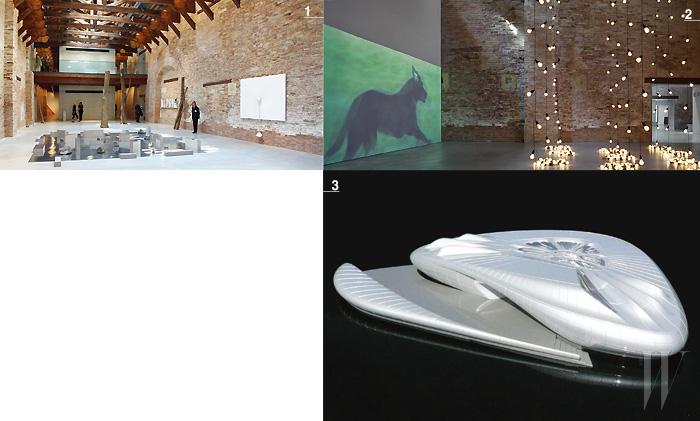 1. 푼타델라 도가나에서 열린 케어링 그룹의 전시 <원초적 물질>. 2. 케어링 그룹의미술관 팔라초 그라시 바로 옆에 위치한 '피노 극장'은 건축가 안도 타다오가 설계를 맡았다. 3. 자하 하디드가 설계한 샤넬의 미래 지향적인 파빌리온.