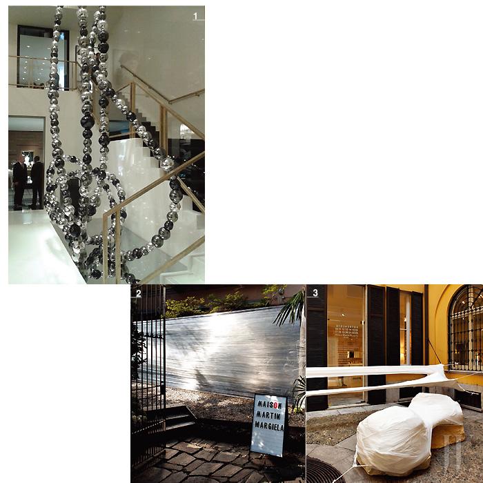 1. 미셸 오토니엘의 무라노 유리 진주알로 제작된 샤넬 부티크의 설치물. 2,3. 아티스트 세드릭 베르나도트가 마르지엘라 부티크에 창조한 특별한 설치물.