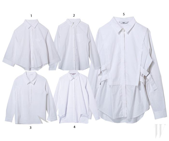 1. A라인으로 퍼지는 크롭트 소매의 기본 화이트 셔츠는 시스템. 21만5천원. 2. 베이식의 정석을 보여주는 화이트 셔츠는 유니클로. 2만9천9백원. 3. 정갈한 디자인의 화이트 셔츠는 분더캄머. 13만9천원. 4. 헴라인에 독특한 커팅을 더한 화이트 셔츠는 드민. 58만원. 5. 허리의 버클 장식이 독특한 화이트 셔츠는 쟈니해잇재즈. 26만8천원
