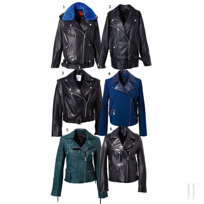 1. 퍼 장식을 더한 양가죽 소재의 라이더 재킷은 럭키슈에뜨. 1백28만원. 2. 오버사이즈 핏의 라이더 재킷은 카이야크만. 39만9천원. 3. 날렵한 디자인의 라이더 재킷은 톰보이. 가격 미정. 4. 울과 가죽이 어우러진 라이더 재킷은 라우드무트. 77만9천원. 5. 짙은 초록색의 베이식한 라이더 재킷은 올세인츠. 60만원대. 6. 부드러운 양가죽 소재의 질감이 그대로 느껴지는 라이더 재킷은 그레이. 29만8천원