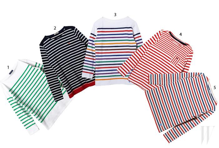 1. 초록색과 흰색의 조화가 산뜻한 줄무늬 티셔츠는 세인트 제임스. 13만8천원. 2. 프레피한 느낌의 줄무늬 티셔츠는 빈폴. 17만9천원. 3. 무지개 색상의 줄무늬 티셔츠는 오르시발 by 어라운드더코너. 16만5천원. 4. 가슴에 주머니 장식을 더한 빨간색 줄무늬 티셔츠는 바이커리페어샵. 6만9천원. 5. 빨강, 파랑, 흰색이 조화를 이룬 줄무늬 티셔츠는 오르시발 by 어라운드더코너. 12만8천원.