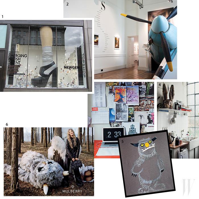 1. 톱숍의 윈도 드레싱을 위해 소녀의 다리를 거대한 크기로 제작했다. 2. 팀 워커의 전시 <Storyteller> 한 켠을 장식한 비행기 세트. 3. 영감을 주는 이미지들을 붙여놓은 사무실 책상. 4. 토끼 마스크가 스튜디오 주방에 초현실적인 느낌을 더한다. 5, 6. 2012 F/W 멀버리 화보 촬영을 위해 거대한 털복숭이 몬스터를 제작했다.