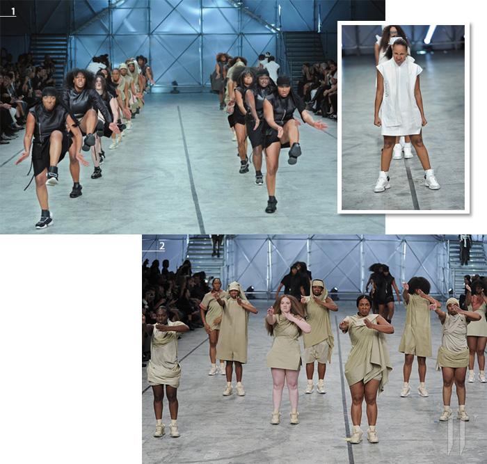1,2. 40명의 미국 스테핑 댄스 팀이 합류해 객석을 들썩이게 만드는 경이로운 패션 신을 연출했다.