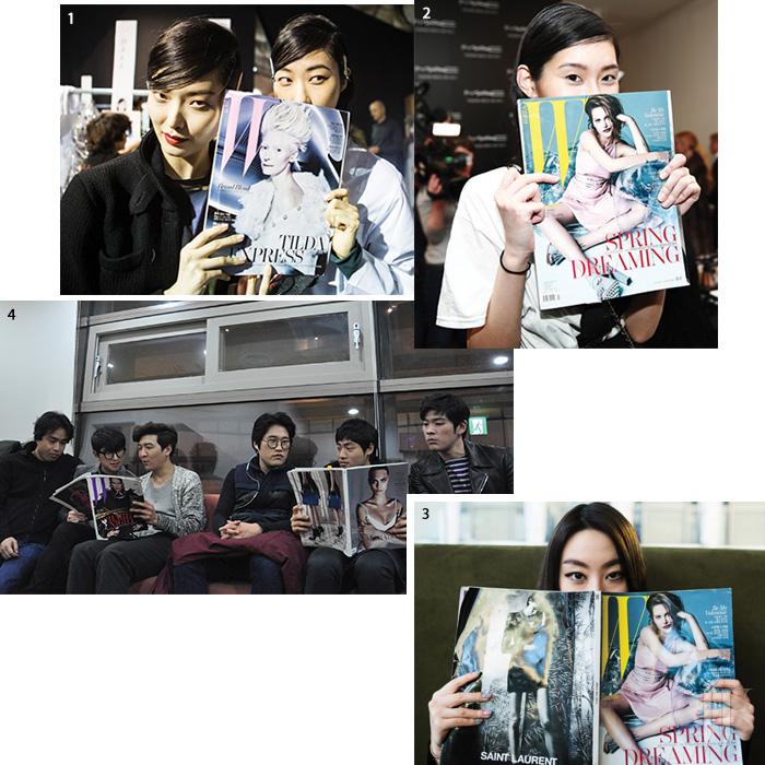 1. 모델 김성희와 박지혜. 2. 모델 밍시. 3. 디자이너 계한희. 4. 밴드 장기하와 얼굴들.