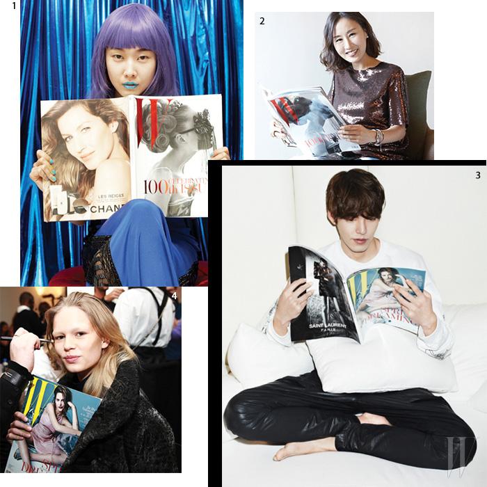 1. 모델 한혜진. 2. 메이크업 아티스트 고원혜. 3. 배우 김우빈. 4. 모델 안나 에베르스.