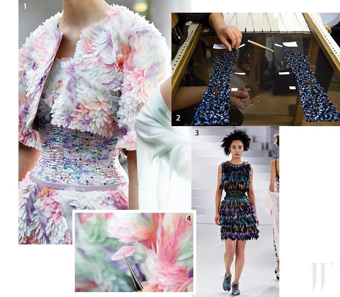 1,4. 색색의 깃털을 하나씩 수놓아 완성한 드레스. 2. 르네뷜 기술을 이용해 수를 놓고 있는 샤넬의 오트 쿠튀르 장인의 손. 3. 샤뿐한 걸음으로 등장한 모델 곽지영.