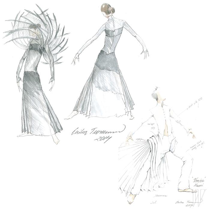 에리카 투르넨 특유의 구조적이고 입체적인 실루엣과 한국적인 정서가 어우러진 <회오리>의 무대 의상.