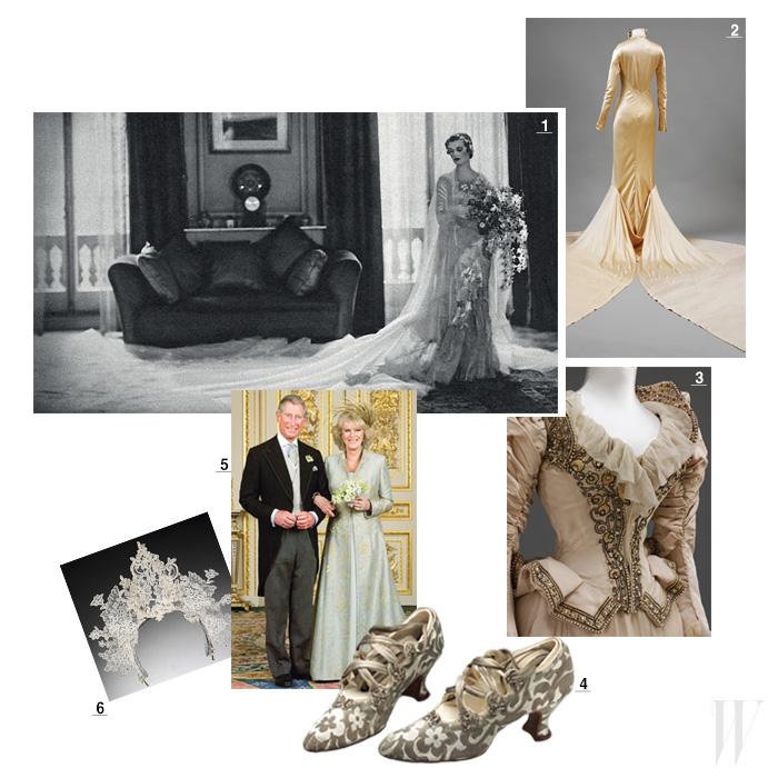 1. 미국의 찰스 스위니 장교와의 결혼식에서 마가렛 위그햄이 입은 노만 하웰의 엠브로이더리 실크 새틴 드레스. 1933년. 2. 런던 디자이너 찰스 제임스의 웨딩드레스. 1934년. 3. 정교한 자수 장식의 드레스. 1890년. 4. 실크와 가죽 소재로 된 '탕고' 슈즈. 1914년. 5. 필립 트레이시가 디자인한 깃털 모자와 안나 밸런타인의 실크 코트와 드레스를 입은 카밀라와 찰스 왕자. 6. 필립 트레이시가 디자인한 레이스 소재의 티아라. 2008년.