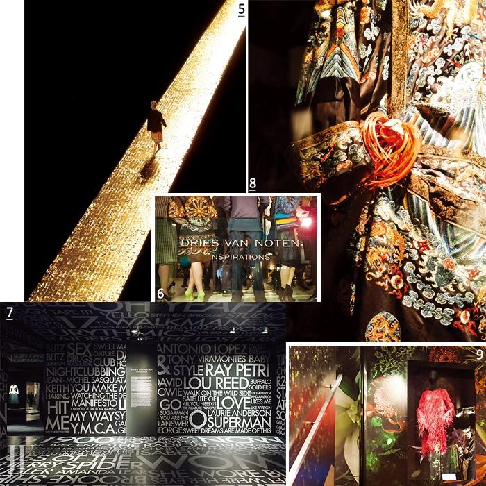 5. 금빛 런웨이가 황홀했던 2006 F/W 컬렉션. 6. 오프닝 파티가 열리던 날 밤, 인산인해를 이룬 전시장. 7. 전시장 입구에는 이 전시를 통해 보여주고자 한 그의 메시지가 가득 채워져 있었다. 8. 2006 S/S 컬렉션에 영감을 준 화려한 자수 장식의 중국 전통 의상. 9. 쇼걸, 댄서들의 의상에서 영감을 받은 2013 F/W 컬렉션의 깃털 드레스