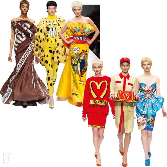 2014 F/W 밀란 패션 위크에 선보인 제레미 스콧의 모스키노 데뷔 컬렉션.