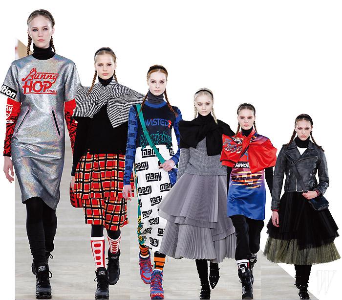 마크 by 마크 제이콥스의 새로운 듀오, 케이티 힐리어와 루엘라 바틀리는 2014 F/W 컬렉션에서 모터사이클과 일본 문화, 길거리 패션을 펑키한 무드로 재해석했다.