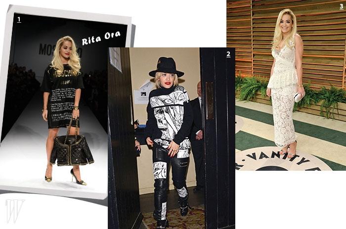 1. 2014 F/W 모스키노 쇼에 지각해 런웨이를 포토월 삼아 인증 사진을 찍은 리타 오라의 당당함. 2. 맥큐의 아방가르드한 룩을 입은 오라. 3. 칼 라거펠트가 아끼는 샤넬의 뮤즈인 오라. 4. 미우미우의 시스루 레이스 드레스를 입은 오라.