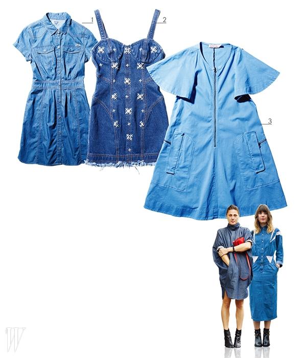 1.셔츠 형태의 정갈한 드레스는 게스 제품. 21만8천원. 2. X자 모양의 비즈 장식이 포인트인 뷔스티에 드레스는 스티브J & 요니P 제품. 36만8천원. 3. 지퍼 장식이 돋보이는 트라페즈 미니 드레스는 씨바이끌로에 제품. 1백만원대.