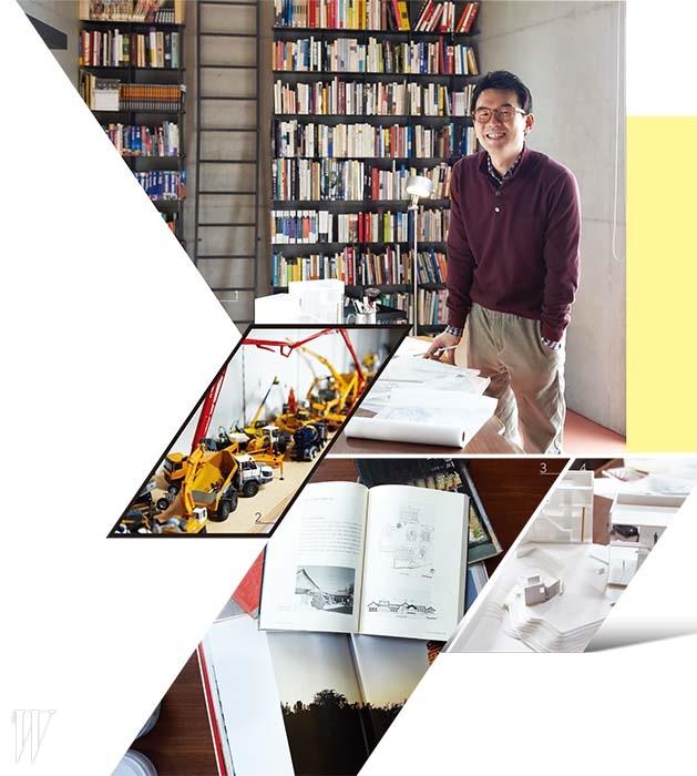 1. 건축가 오영욱은 하나의 건물에 두 개의 사무실을 만들었다. 그 중 책으로 가득 찬 통유리창의 사무실은 일보다는 자신이 좋아하는 것들을 자유롭게 할 수 있는 공간이다. 2. 중장비 기업의 프로젝트를 앞두고 구입한 중장비 미니어처. 3. 대학 시절의 바이블과 같았던 책 . 4. 현재 작업 중인 콘크리트 건축물의 설계 모형도.