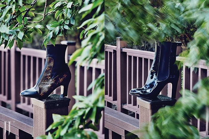 왼쪽│모노그램 패턴이 포인트인 부츠는 루이 비통 제품. 1백70만원대.오른쪽│광택이 돋보이는 페이턴트 가죽 소재의 부츠는 샤넬 제품. 가격 미정.