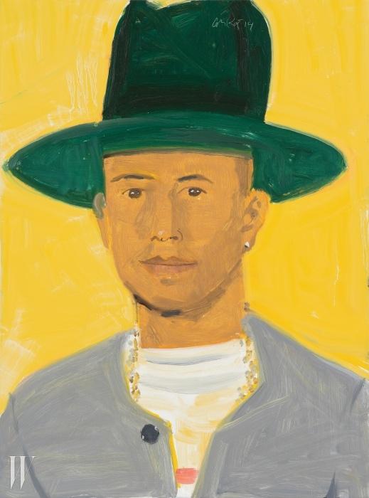 인물 초상의 대가 알렉스 카츠의 그림 속에서도 퍼렐은 트레이드 마크가 된 모자를 쓰고 있다. 작가는 그에 대해 '스타일링이 샤프하고 잘 생긴 남자'라고 언급했다.