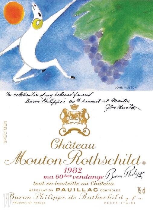 샤토 무통 로칠드는 매년 아티스트들에게 레이블 디자인을 의뢰하는 것으로 유명하다. 그림의 주제는 언제나 같다. 와인을 마시는 즐거움.