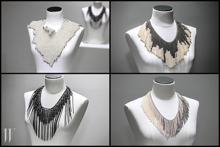 10월 7일, 'Pearl & Diamond Jubilee'라는 주제로 타사키가 선보인 M/G TASAKI 컬렉션의 론칭 행사 현장. 자아가 확고한 여성에게 어울릴 담대하고 실험적인 디자인의 라지(Large)와 체인드(Chained) 컬렉션 진주 목걸이들이 전시되었다. 티탄과 실버, 말간 우윳빛의 담수 진주 혹은 신비로운 피코크 그린 색상의 담수 흑진주를 사용한 목걸이들은 모두 가격 미정.
