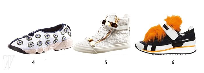 4. 스팽글 장식 스니커즈는 디올 제품. 1백60만원.5. 골드 버클 장식의 스니커즈는 쥬세페 자노티 제품. 2백18만원. 6. 퍼 장식이 화려한 스니커즈는 피에르 아르디 제품. 1백43만원.