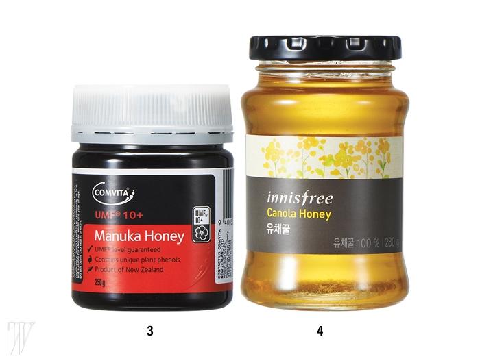 3.Comvita 콤비타UMF 10+ 마누카 꿀오직 뉴질랜드 북섬중앙 지역의 화산고원에서 자라는마누카 꽃에서 채집한100% 마누카 꿀만을담았다. 점도가 높아걸쭉하고 불투명한색상과 거친 식감이특징. 250g, 7만2천원.4.Innisfree 유채꿀오직 제주 함덕양봉원에서채집한 유채꿀만을 담았다.신선한 풀 냄새가 나며 다른꿀류에 비해 포도당이풍부한 것이 특징.이니스프리 제주하우스제주점과 삼청점에서 구입가능하다. 280g, 1만원.