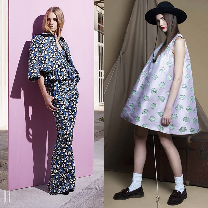 왼쪽 | 히트를 친 팬더 프린트가 담긴 2013 리조트 컬렉션.오른쪽 |풍성한 실루엣이 돋보이는 2014 프리폴 컬렉션.
