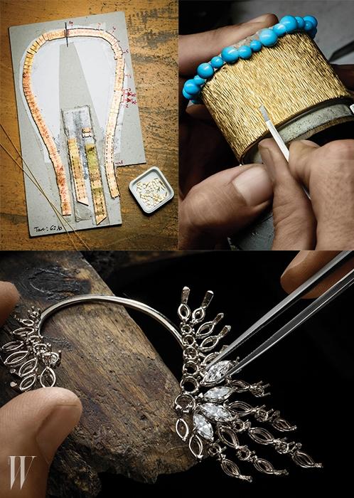 피아제 공방에서 완벽을 향한정교하고도 섬세한 손길로 탄생되는주얼리 제작 과정.