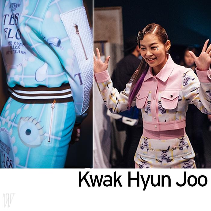 왼쪽  이번 시즌 곽현주의 시그너처 프린트가 돋보이는 룩.오른쪽  만화 캐릭터 같은 미소는모델 송해나만의 매력.