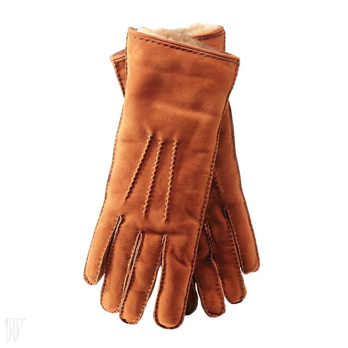 COLOMBO 갈색 스웨이드 가죽 장갑. 60만원대.
