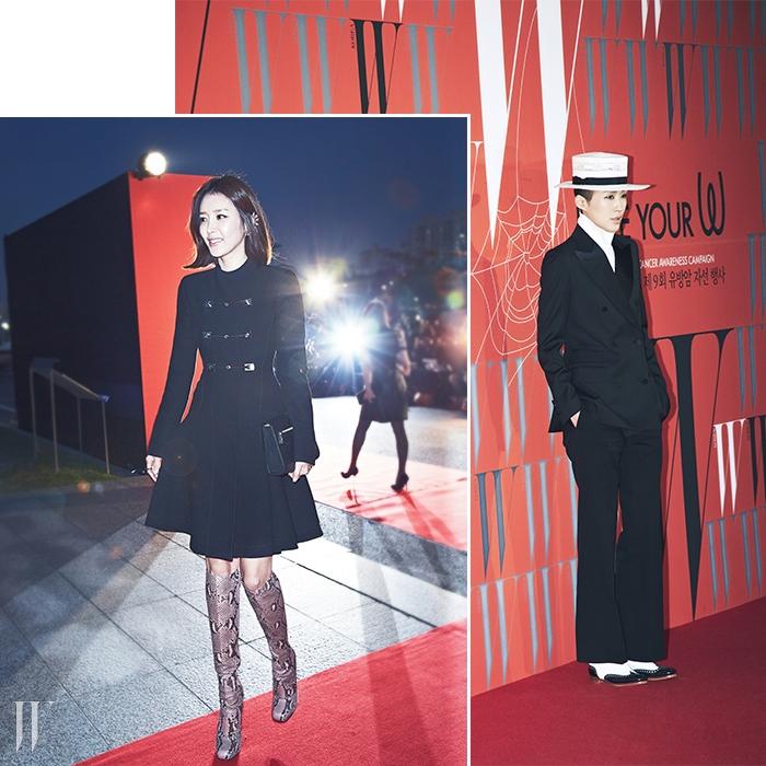 왼쪽   버클 장식의 코트 드레스,앨리게이터 부츠로60년대 분위기를 연출한배우 채정안의 룩은 Gucci 제품.오른쪽  젠틀 우먼의 진수를 보여준방송인 홍진경의 근사한 룩.