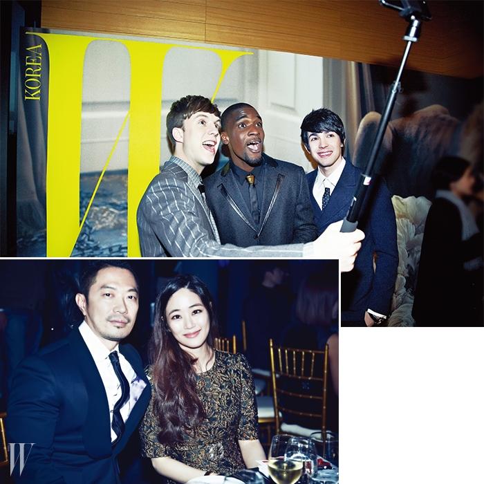 위  줄리안이 입은핀 스트라이프 수트와샘이 입은 턱시도 수트는The Studio K 제품.로빈의 의상은 본인의 것.아래  나무 액터스 김동식 대표와 배우 김효진.