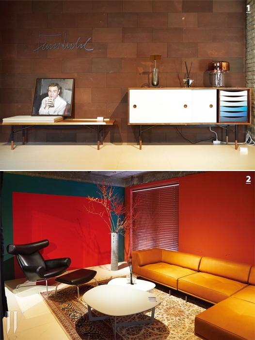 1. BOE는 감각적인 디자인을자랑하는 핀 율의 가구를 선보인다. 2. BOE 이철 대표는 하나의 갤러리에가까운 분위기의 쇼룸을 완성했다.