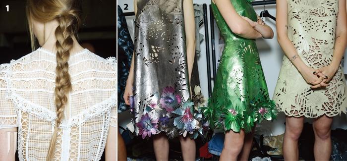 1.에르뎀의 느슨하게땋은 머리는모델의 가녀린목덜미를 더욱 강조하면서룩에 서정적으로 표현했다.2.레이저 커팅으로울창한 숲을 표현한자일스 디컨의화려한 드레스.