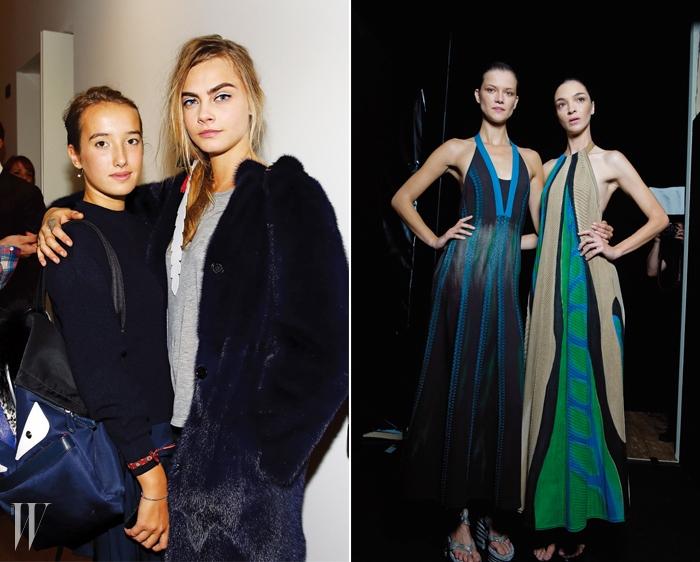 왼쪽 |펜디의 오프닝을 장식한카라 델레바인과실비아 펜디의 막내딸레오네타 펜디의다정한 투 샷!오른쪽 |살바토레 페라가모의장인 정신이깃든 드라마틱한니트 드레스를입은 카시아 스트러스와마리아카를라 보스코노.