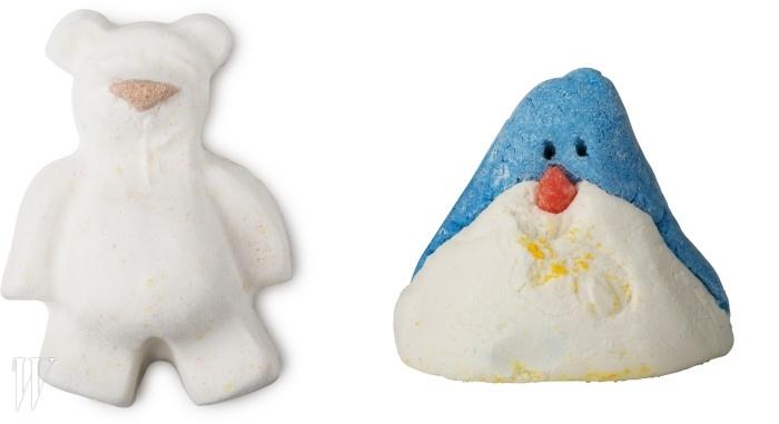 (왼쪽부터)버터 베어 배쓰밤 60g, 7천원 & 크리스마스 펭귄 버블바 100g, 1만원.