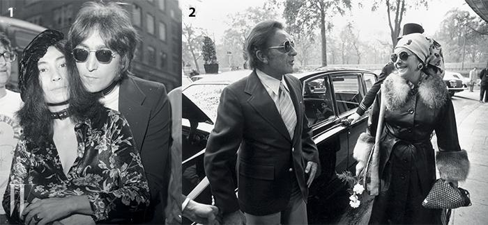 1. 1960~70년대 예술과음악을 통해 사랑과 평화를외친 오노 요코와 존 레논커플. 요코의 탐스런꽃무늬 벨벳 블라우스가돋보인다.2. 풍성한 퍼,헤드 스카프, 동그란프레임의 선글라스로70년대 글래머러스한히피 룩을 보여준엘리자베스 테일러.