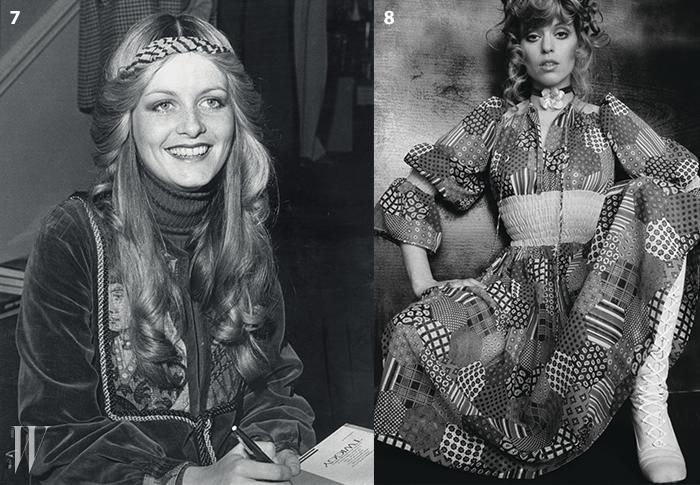 7. 머리부터 발끝까지 자유로운 히피트렌드를 보여준 트위기의 에스닉 룩.8. 패치워크 드레스에레이스업 롱부츠를 매치한 70년대 모델의 트렌디 룩.