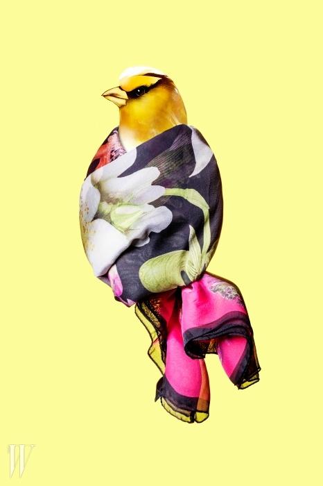 물감으로 채색한 듯한 꽃무늬가인상적인 얇은 실크 스카프는 에스카다제품. 60만원대.