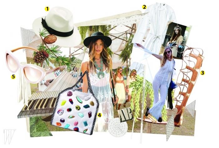 1. 라피아 소재의 하얀색 페도라는 헬렌 카민스키 제품.42만원.2. 얇은 니트 소재의 하얀색 드레스는루이 비통 제품. 가격 미정.3. 은은한 광택이 멋진 골드 글래디에이터 슈즈는 알도 제품.13만5천원.4. 각양각색의 스톤 장식이 부착된 체인 숄더백은 스텔라 매카트니 제품.1백만원대.5. 하얀색 프레임의 캐츠아이 선글라스는 프라다by룩소티카 제품.40만원대.