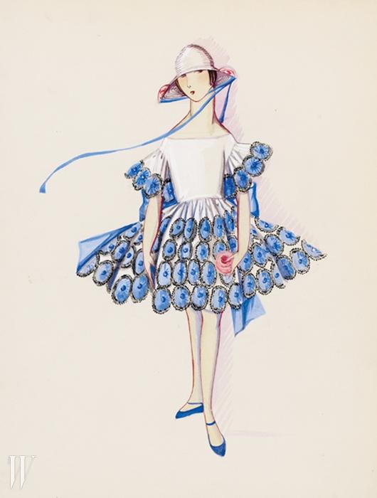딸 마거릿을 통해 영감을 받아소녀들을 위한 여성복을 론칭한잔 랑방의 1925년 컬렉션 스케치.