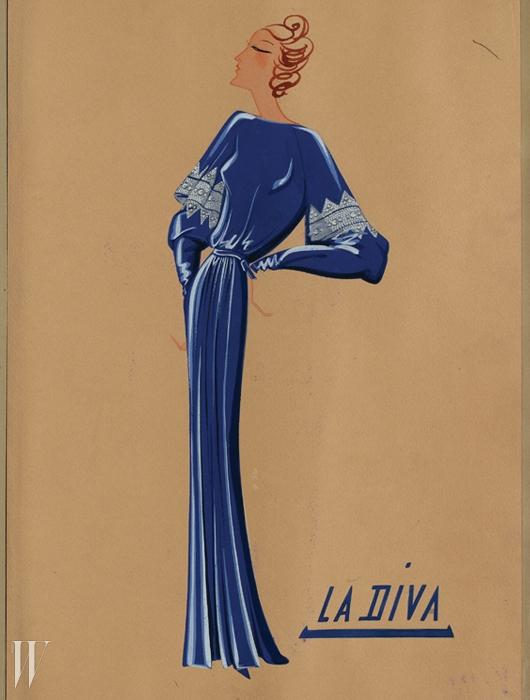 1934년 선보인 우아한 이브닝드레스 'La Diva' 컬렉션의 스케치.