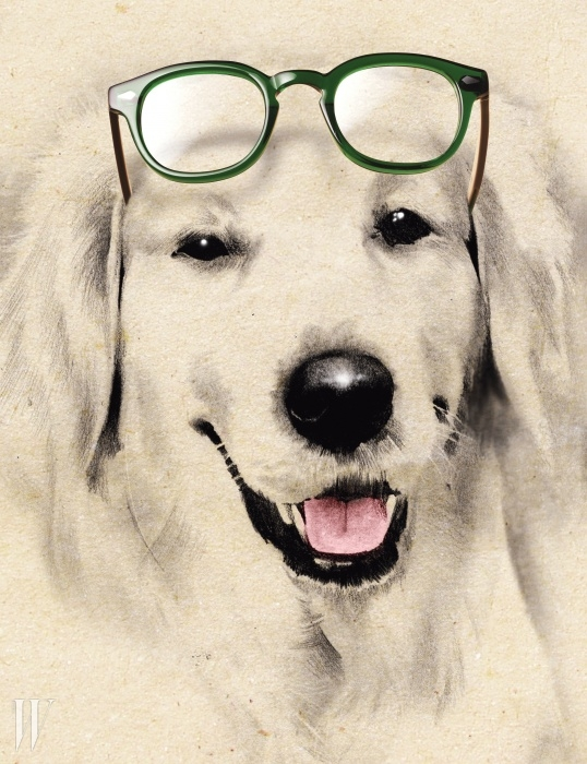 개성 있는 선명한 초록색 안경. 투명 프레임이라 답답해 보이지 않는다.모스콧 by 모스콧 서울 제품. 33만원.