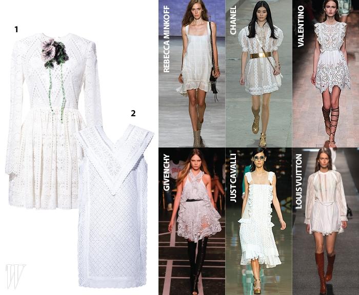 1. 꽃 장식이 부착된 아일릿 드레스는 발렌티노 제품. 가격 미정.2.V라인이 돋보이는 사랑스러운 아일릿 드레스는 고엔제이 제품.30만원대.