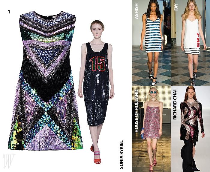 아프리칸 무드의 시퀸 소재 드레스는 에센셜 제품. 가격 미정.