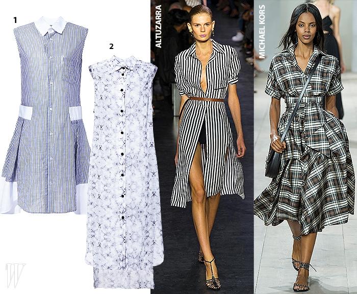 1.단정한 무드의 핀 스트라이프 셔츠 드레스는 요지 야마모토 제품.가격 미정.2.대리석 패턴 효과를 준 시폰 소재 셔츠 드레스는스티브J&요니P제품. 가격 미정